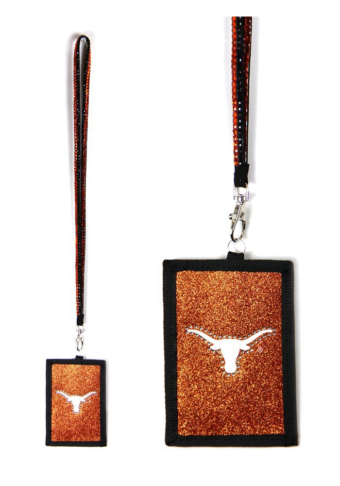 Texas Longhorns Beaded Wallet Orange Lanyard - Image 1