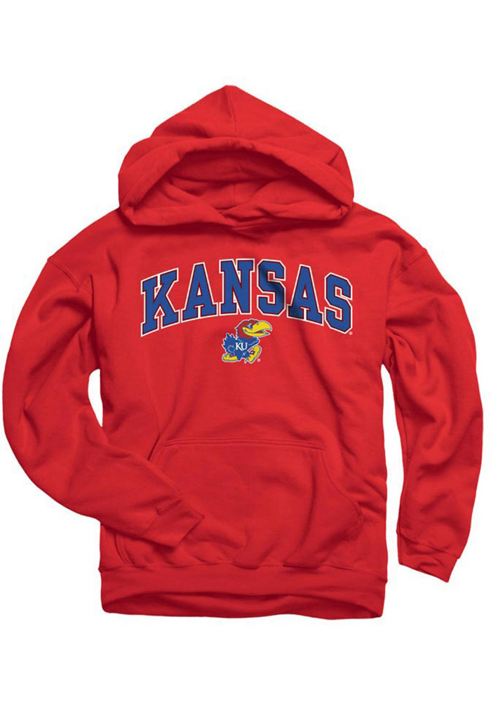 Kansas Jayhawks Kids Red Midsize Arch Long Sleeve Hoodie - Image 1