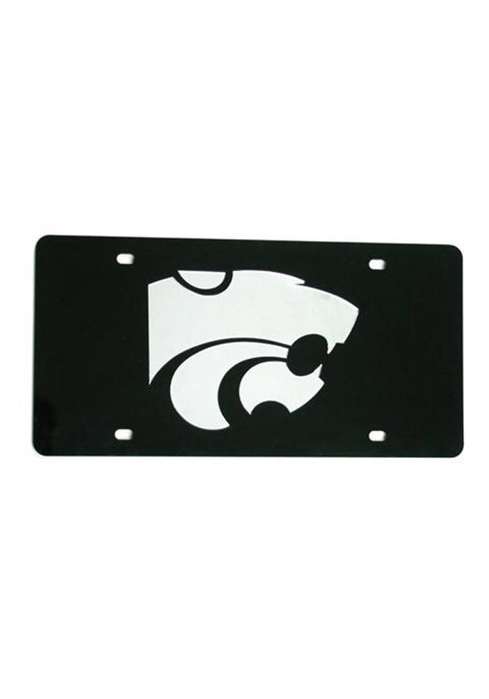 K-State Wildcats Silver Team Logo Black Car Accessory License Plate - Image 1