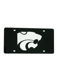 K-State Wildcats Silver Team Logo Black Car Accessory License Plate