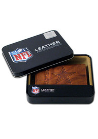 Dallas Cowboys Embossed Leather Trifold Wallet - Brown