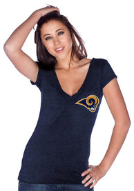 Los Angeles Rams Womens Crystal Triblend T-Shirt - Navy Blue