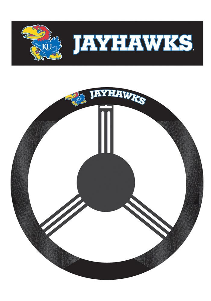 Kansas Jayhawks Poly-Suede Auto Steering Wheel Cover - Image 1
