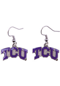TCU Horned Frogs Womens Logo Dangle Earrings - Purple
