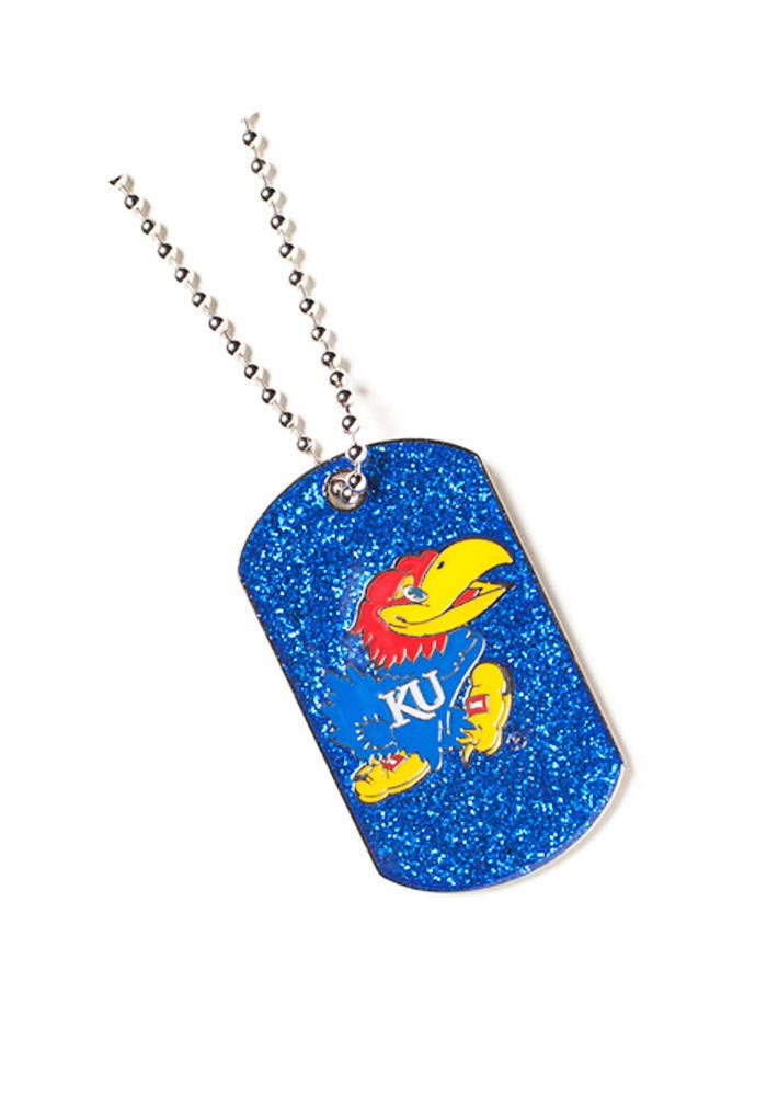 Kansas Jayhawks Womens Glitter Dog Tag Necklace - Blue