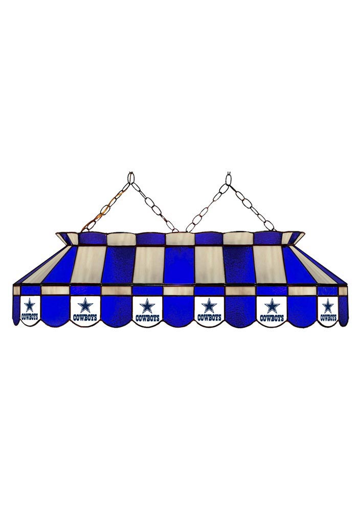 Dallas Cowboys 40 Inch Stained Glass Blue Billiard Lamp - Image 2
