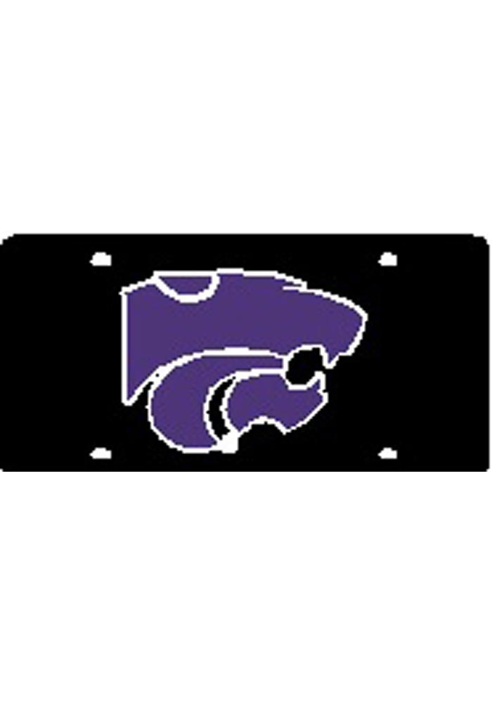 K-State Wildcats Purple Team Logo Black Car Accessory License Plate - Image 1