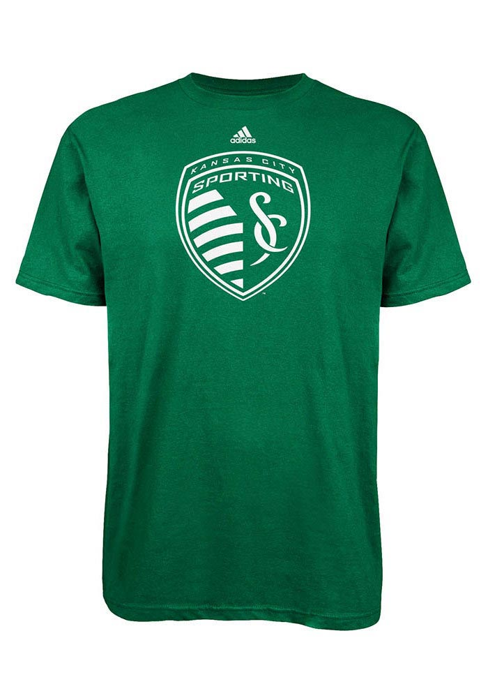 Adidas Sporting KC Kelly Green/White Tonal Shield T-Shirt