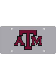 Texas A&M Aggies Silver Letters Logo Car Accessory License Plate