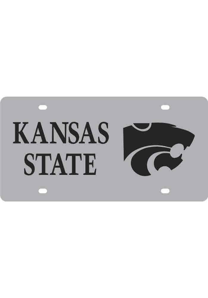 K-State Wildcats Silver Team Name, Logo Car Accessory License Plate - Image 1