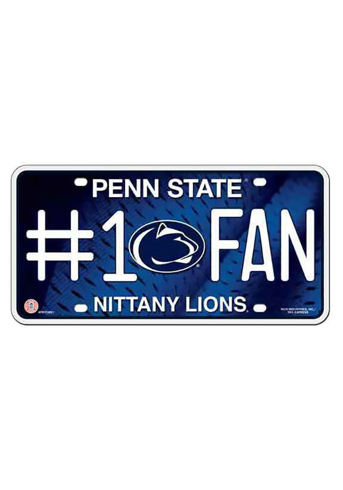 Penn State Nittany Lions Blue Fan Logo Car Accessory License Plate - Image 1