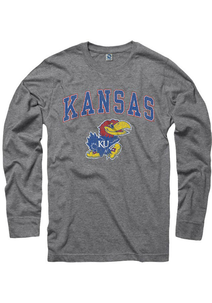 Kansas Jayhawks Grey Arch Mascot Long Sleeve T Shirt - Image 1