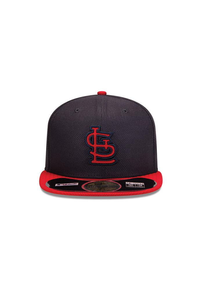 New Era St Louis Cardinals Mens Navy Blue 5950 Diamond Fitted Hat - Image 3