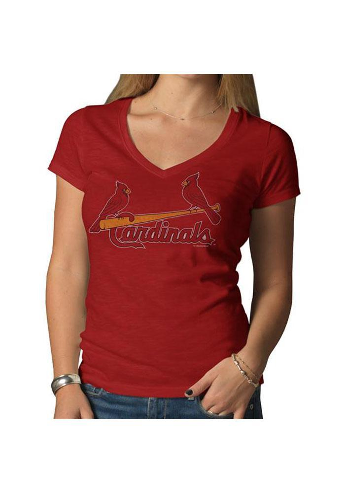 '47 St Louis Cardinals Womens Red Scrum V-Neck T-Shirt - Image 1