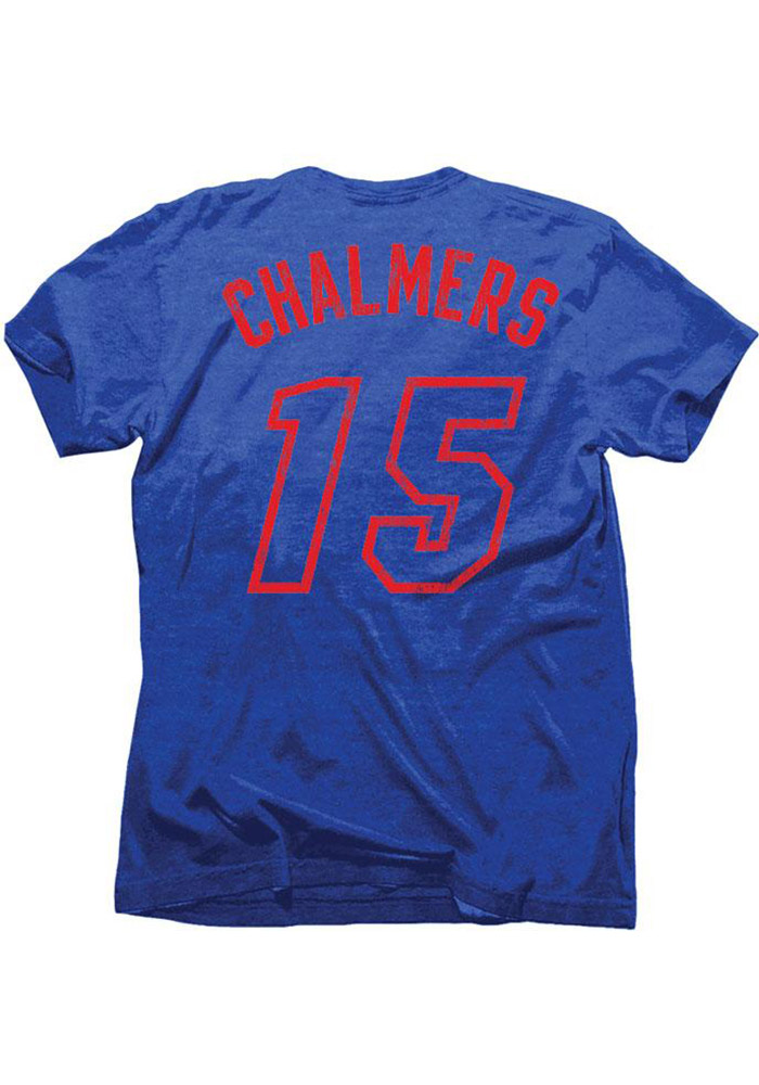 Mario Chalmers Miami Heat Mens Blue Tri-Blend Name And Number Short Sleeve Player T Shirt - Image 1