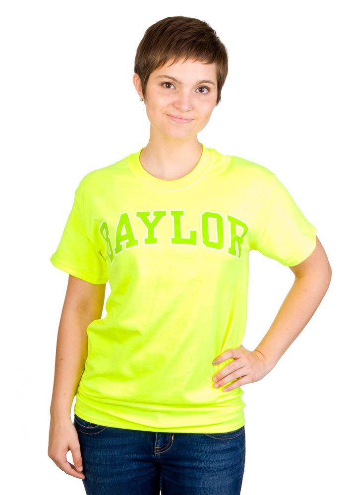 Baylor Bears Womens Green Neon Short Sleeve Unisex Tee - Image 1