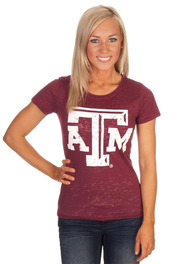 Texas A&M Aggies Juniors Maroon Burnout Short Sleeve Crew T-Shirt - Image 2