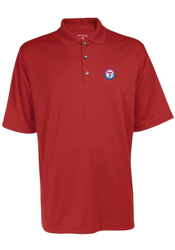 Antigua Texas Rangers Mens Red Exceed Short Sleeve Polo - Image 1