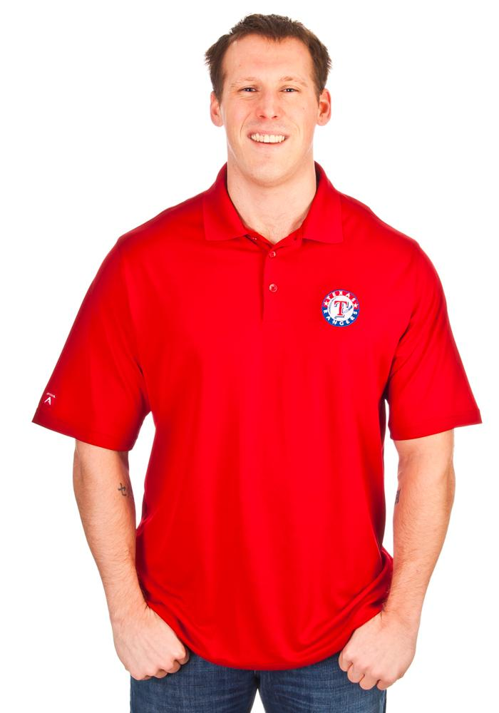 Antigua Texas Rangers Mens Red Exceed Short Sleeve Polo - Image 2