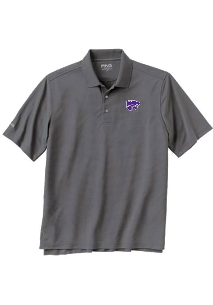 K-State Wildcats Mens Charcoal Iron Short Sleeve Polo - Image 1