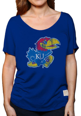 Original Retro Brand KU Jayhawks Womens Relaxed Tunic Blue Scoop T-Shirt