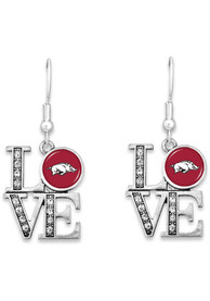 Arkansas Razorbacks Womens Earrings - Silver