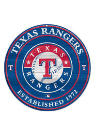 Texas Rangers Round Wood Sign