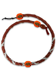 Oklahoma State Cowboys Spiral Football Necklace - Brown
