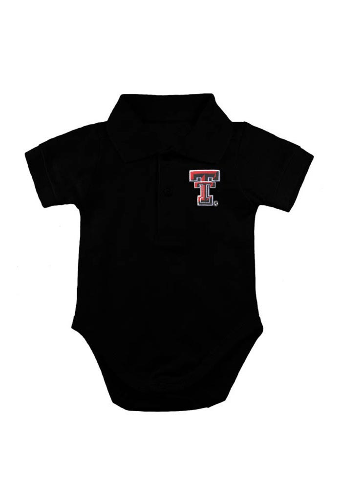 Texas Tech Red Raiders Baby Black Logo Short Sleeve Polo One Piece - Image 1