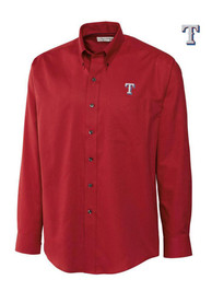 Cutter and Buck Texas Rangers Mens Red Easy Care Nailshed Dress Shirt