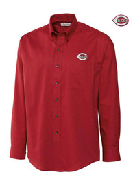 Cutter and Buck Cincinnati Reds Mens Red Easy Care Nailshed Dress Shirt