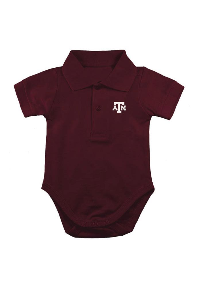 Texas A&M Aggies Baby Maroon Logo Short Sleeve Polo One Piece - Image 1