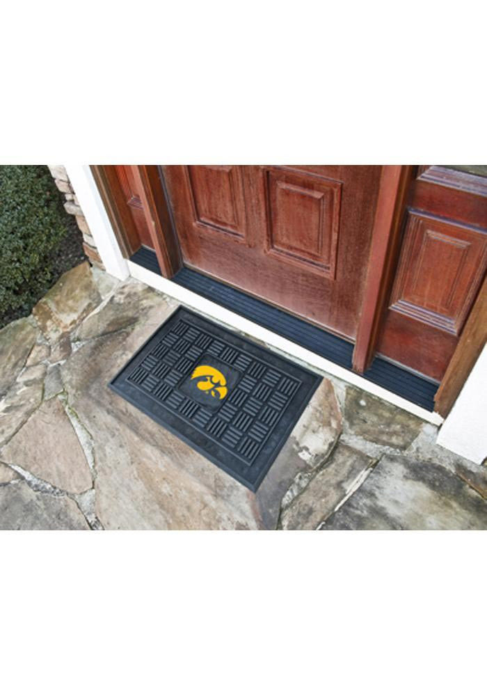 Iowa Hawkeyes Black Vinyl Door Mat - Image 1