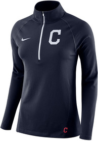 Cleveland Indians Womens Nike Core 1/4 Zip - Navy Blue