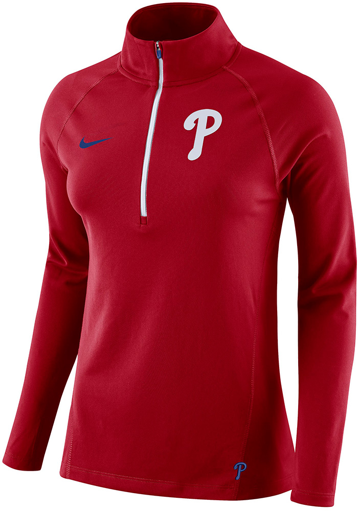 Nike Philadelphia Phillies Womens Core Red 1/4 Zip Pullover