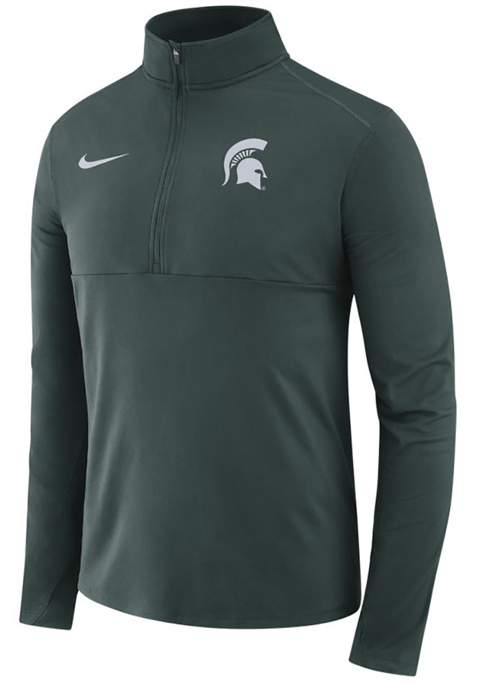 Nike Michigan State Spartans Mens Green Core Long Sleeve 1/4 Zip Pullover - Image 1