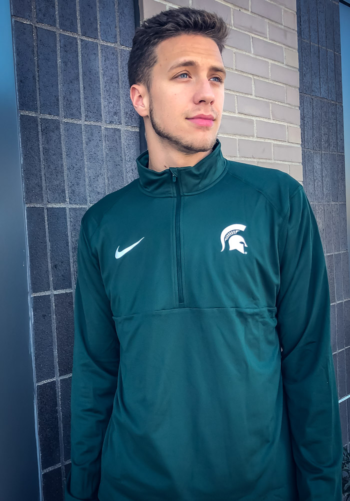 Nike Michigan State Spartans Mens Green Core Long Sleeve 1/4 Zip Pullover - Image 3