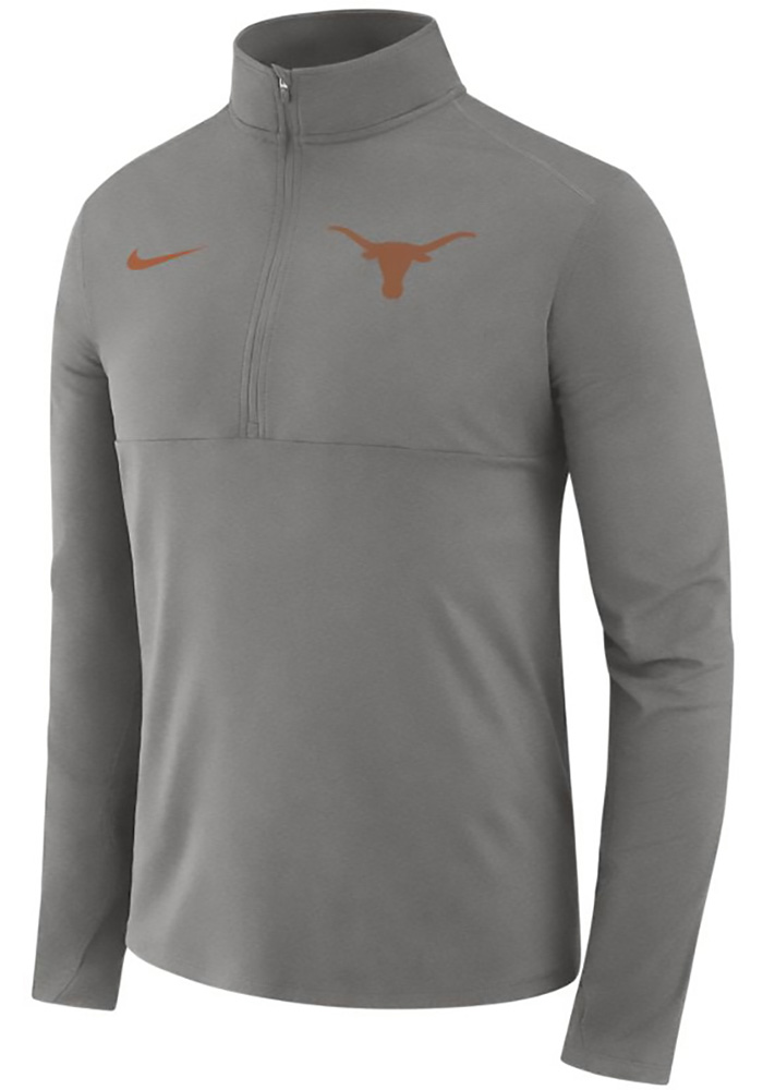 Nike Texas Longhorns Mens Grey Core Long Sleeve 1/4 Zip Pullover - Image 1