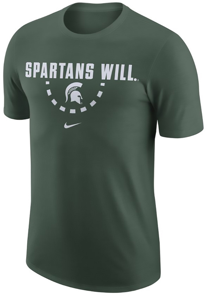 Nike Michigan State Spartans Green Team Short Sleeve T Shirt - Image 1