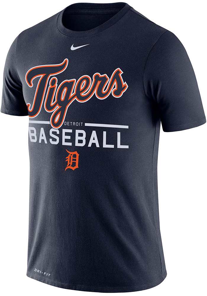 Nike Detroit Tigers Navy Blue Dry Practice Short Sleeve T Shirt - Image 1