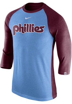 Nike Philadelphia Phillies Light Blue Tri 3 4 Raglan Fashion Tee 96ef1e7b04f