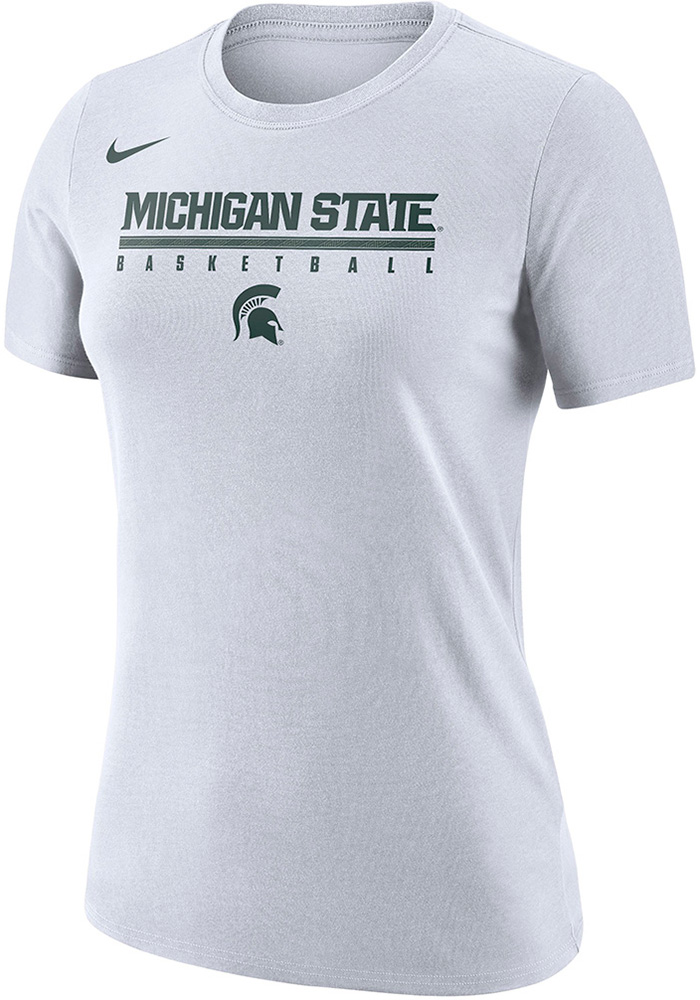 Nike Michigan State Spartans Womens White Basketball Practice Legend T-Shirt - Image 1