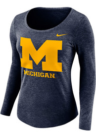 Michigan Wolverines Womens Nike Logo Scoop Neck T-Shirt - Navy Blue