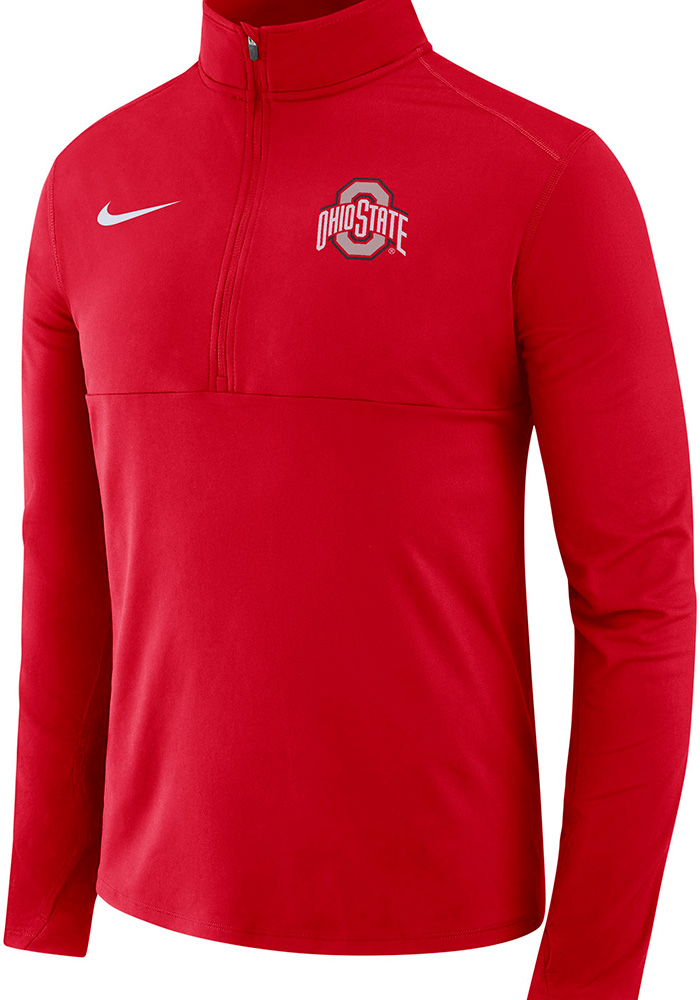 Nike Ohio State Buckeyes Mens Red College Core Long Sleeve 1/4 Zip Pullover - Image 1