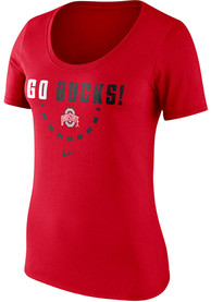 best cheap 4c367 cef31 Nike Ohio State Buckeyes Womens Red Basketball Team Scoop Neck T-Shirt