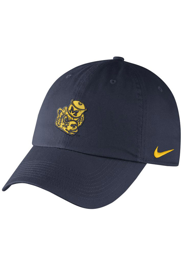 Nike Michigan Wolverines Mens Navy Blue Vintage DF H86 Authentic Adjustable Hat - Image 1