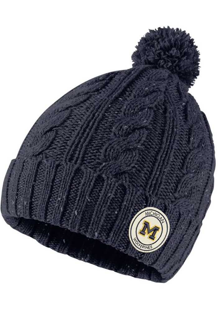 on sale 0c448 4a156 ... new zealand nike michigan wolverines womens navy blue patch pom knit  knit hat 77333 479e5