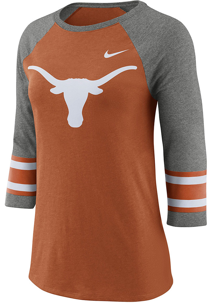 Nike Texas Longhorns Womens Burnt Orange Stripe 3/4 Raglan Crew Neck LS Tee - Image 1
