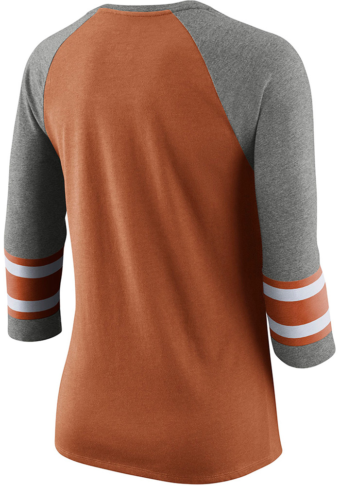 Nike Texas Longhorns Womens Burnt Orange Stripe 3/4 Raglan Crew Neck LS Tee - Image 2
