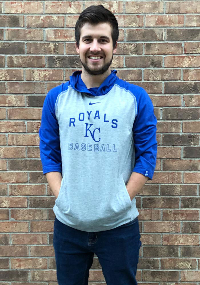 Nike Kansas City Royals Mens Grey Flux Fashion Hood - Image 3